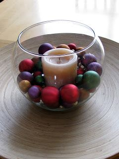 a typical glass fish bowl filled with some smaller Christmas bulbs and centered with a pillar candle