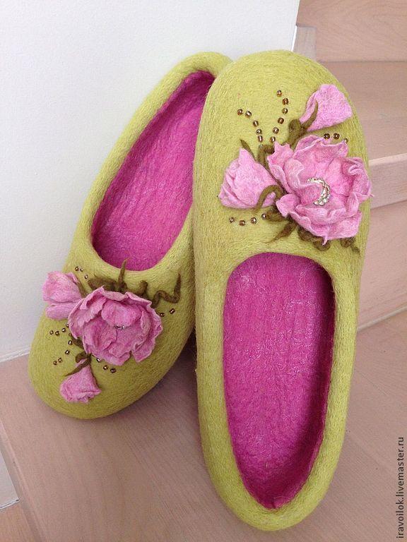 """Тапочки """"Веснянка"""" - салатовый, обувь ручной работы, тапочки из войлока, Тапочки ручной работы"""