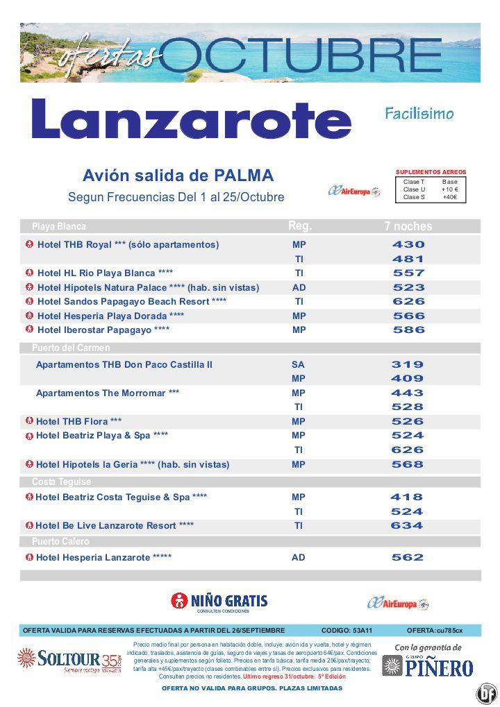 Hoteles en Lanzarote, salidas en Octubre desde Palma de Mallorca - 5ª edición ofertas Octubre - http://zocotours.com/hoteles-en-lanzarote-salidas-en-octubre-desde-palma-de-mallorca-5a-edicion-ofertas-octubre/