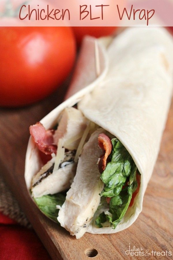 Chicken BLT Wrap ~ Easy Wrap Perfect for Lunch or Dinner! Loaded with Grilled Chicken, Romaine Lettuce, Bacon, Tomatoes, Parmesan cheese and...