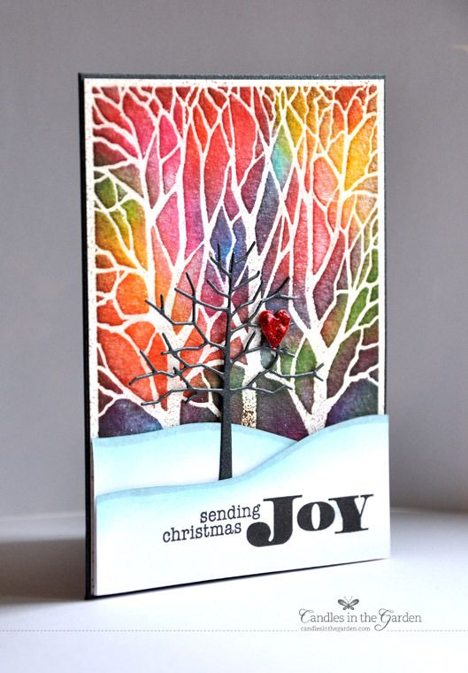 Gorgeous stained glass effect would be good for a nice January winter card, with a different sentiment stamp used