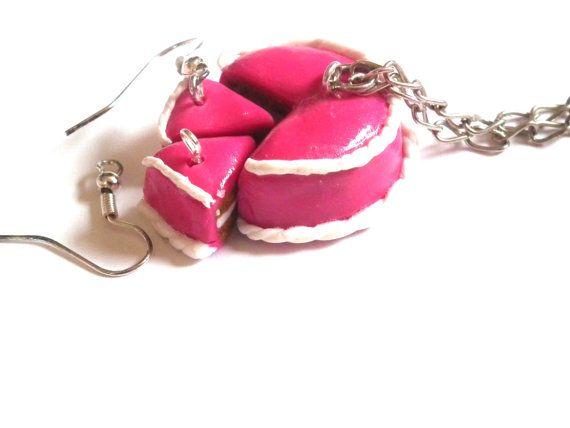 Cake Necklace Cake Earrings Cake Jewelry Set by LittlePandahugs