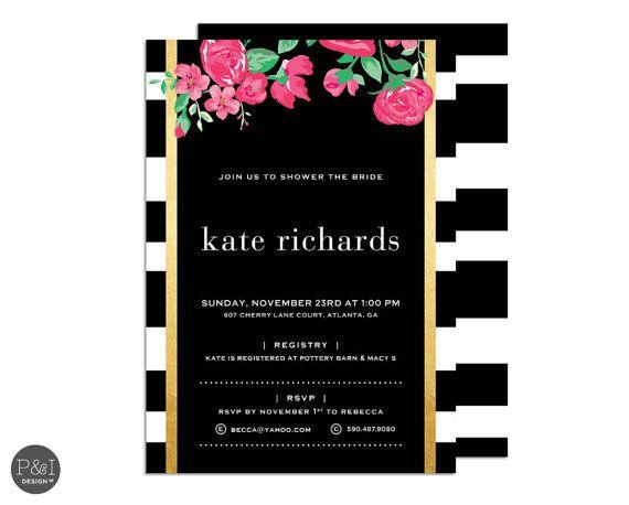 125 best Black, White \ Gold Baby Shower images on Pinterest Cake - fresh birthday invitation baby girl