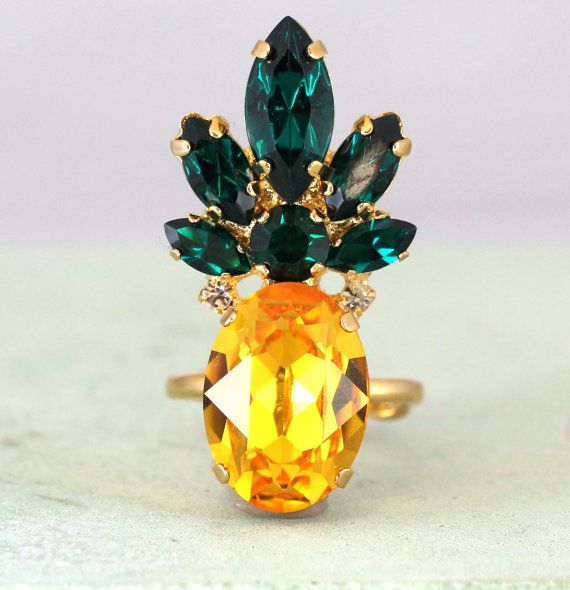 Pineapple Ring Swarovski Cocktail RingYellow Emerald by iloniti