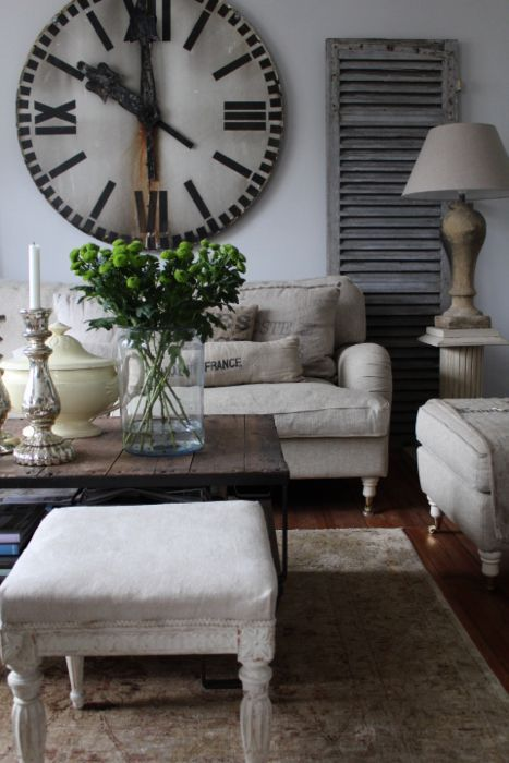with rustic wood coffee table pop of greenery nice living room