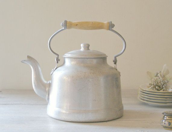 Rustic Farmhouse Teapot vintage Aluminum tea Kettle by MeshuMaSH, $35.00