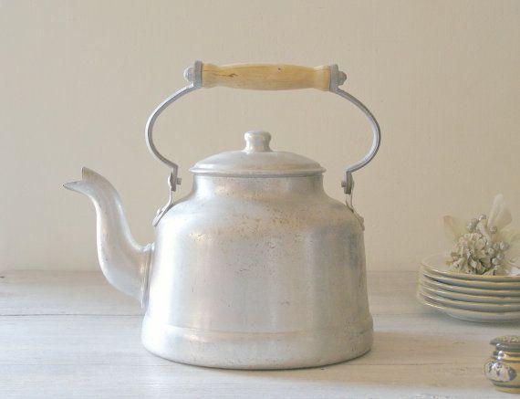 Rustic Farmhouse Teapot vintage Aluminum tea Kettle by MeshuMaSH, $35.00