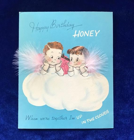 1940 S Norcross Birthday Card Angels Real Feathers Etsy Birthday Cards Happy Birthday Honey Cards
