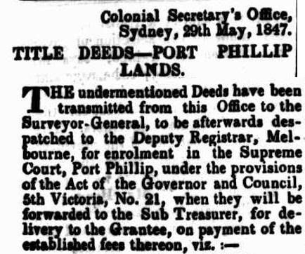 Title Deeds - Port Phillip Lands (Victoria) - Published 29th May 1847