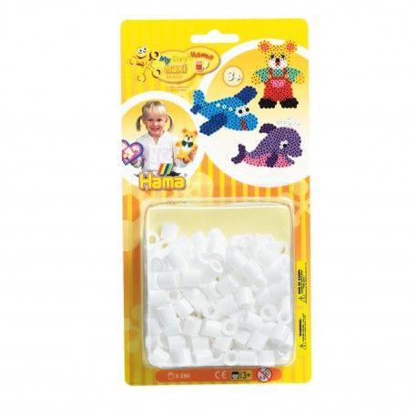 Zakje met 250 Hama Maxi strijkkralen in de kleur wit. Kleurcode 01.  Afmeting verpakking 22,5 x 11,5 x 4,5 cm Geschikt voor kinderen vanaf 3 jaar.