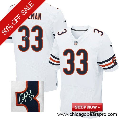$129.99 Men's Nike Chicago Bears #33 Charles Tillman Elite Away White NFL Alternate Autographed Jersey