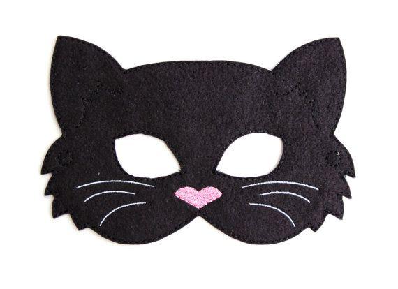 Niños gato máscara traje de gato negro fieltro máscara