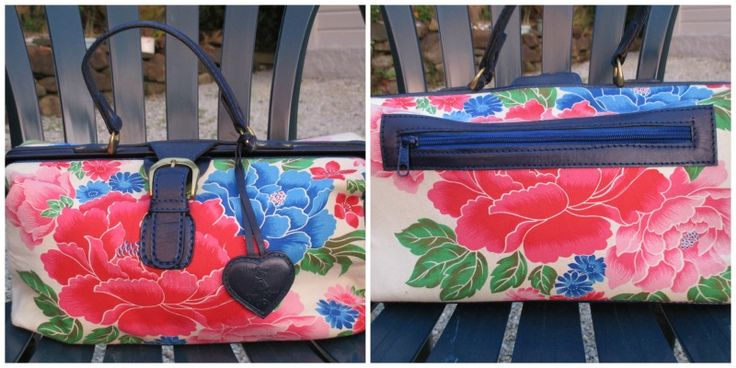 Peony printed handbag - in the style of a Doctors bag.  Real leather fastening.  Toffs $3