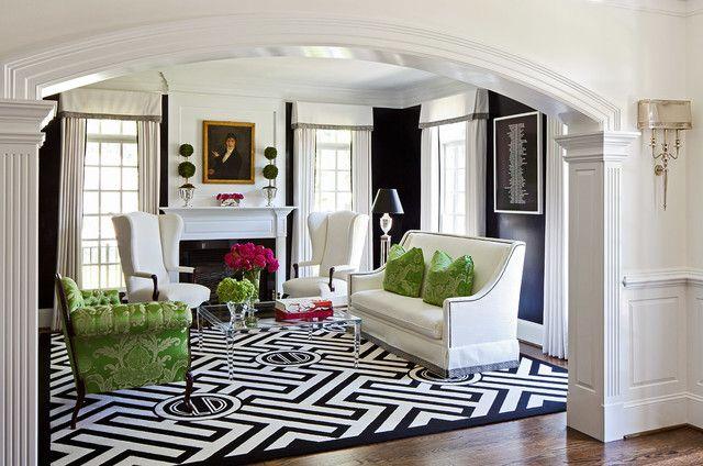 Black Living Room Walls, Contemporary, living room, Kellie Burke Interiors