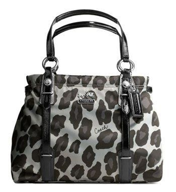 coach purse outlet store vgy8  Coach Mia Ocelot Print Carryall in silver, gray, and black shiny sateen  with crinkle