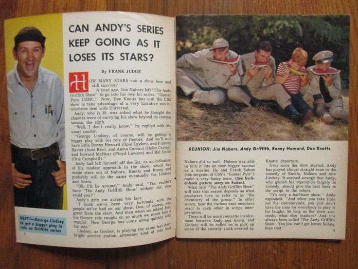 1965 NY Journal American TV Mag(ANDY  GRIFFITH SHOW/DANIELA BIANCHI/FRANK SUTTON