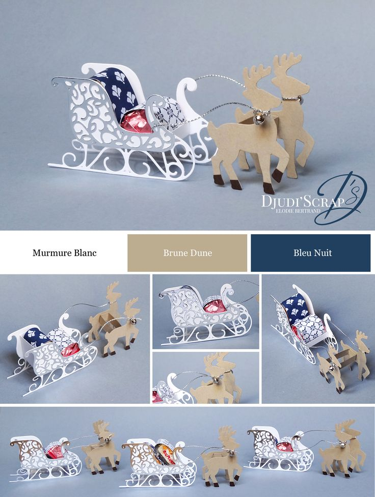 "Stampin'Up! by Djudi'Scrap - Tutoriel Déco de Table Traineau du Père Noël ""Thinlits Traineau du Père Noël / Santa's Sleigh Thinlits Dies"""