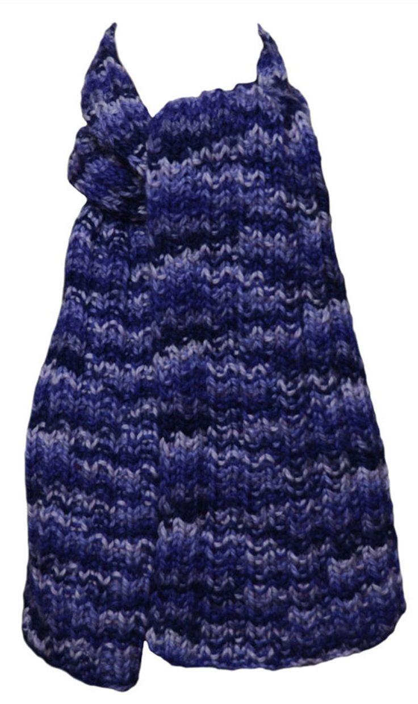 Hand Knit  Scarf - Purple Periwinkle Mix Alpaca Trail Ridge Rib by StudioatRedTopRanch on Etsy