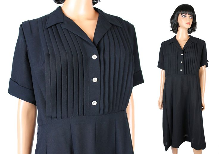 50s Cocktail Dress Sz XL Vintage Black Crepe Kerrybrooke Pin Up Girl Costume Free US Shipping by HepCatClothes on Etsy