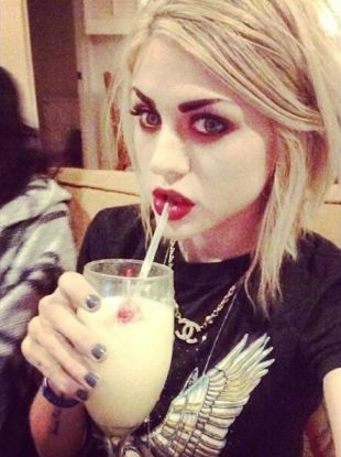 frances bean cobain, w/platinum hair and red makeup ...but what does that haircut look like when not styled? and, how to style it like thst omce you have it (ie. what products, what tools, what technique; what level of difficulty?)