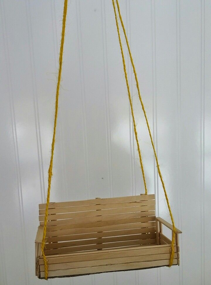 Diy porch swing bird feeder made from skinny popsicle for How to make things out of sticks