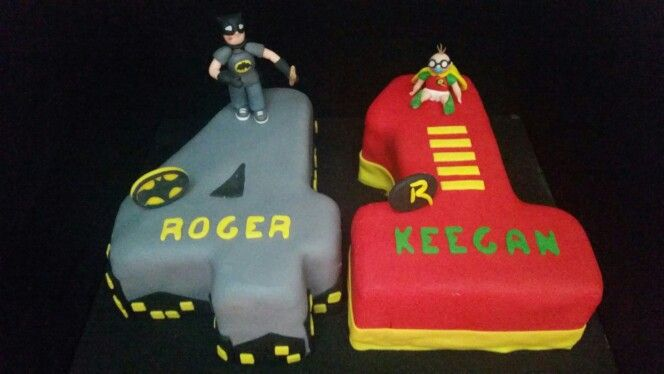 Batman and Robin cake