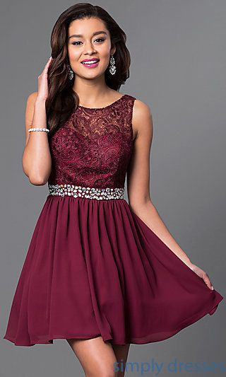 Shop homecoming dresses and short wedding-guest dresses at Simply Dresses. Sweet-16 lace and chiffon dresses and party dresses under $100.