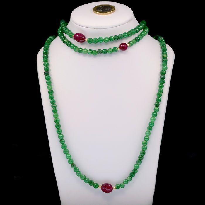 Online veilinghuis Catawiki: Ketting samengesteld uit smaragden en robijnen, met 18 kt geelgouden omboordsels en sluiting.
