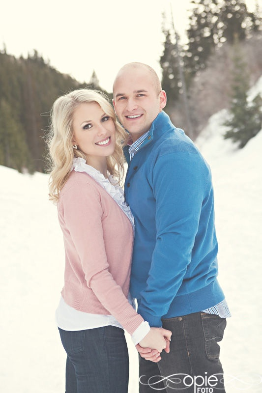 snow winter engagements utah photography pink blue pine trees