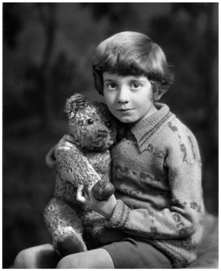 I love that A.A. Milne based Winnie the Pooh books on his real son. Here's the real Winnie the Pooh and Christopher Robin - ca. 1928 National Portrait Gallery