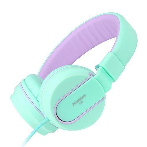 Ailihen I35 Stereo Lightweight Foldable Headphones Adjustable Headband Headsets with Microphone 3.5mm for Cellphones Smartphones Iphone Laptop Computer Mp3/4 Earphones (Green Purple)