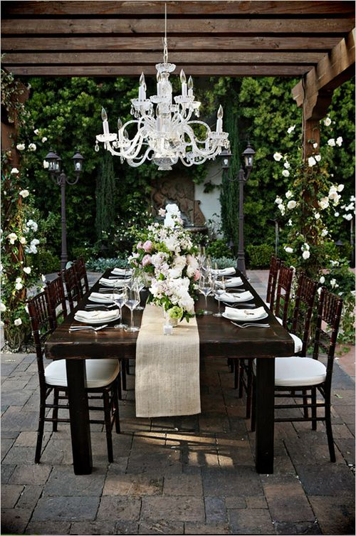 Climbing roses, chandelier, pergola  These are a few of my favorite things!