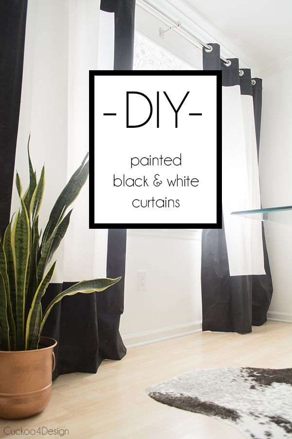 Black and White Fabric Painted Curtains - Cuckoo4Design
