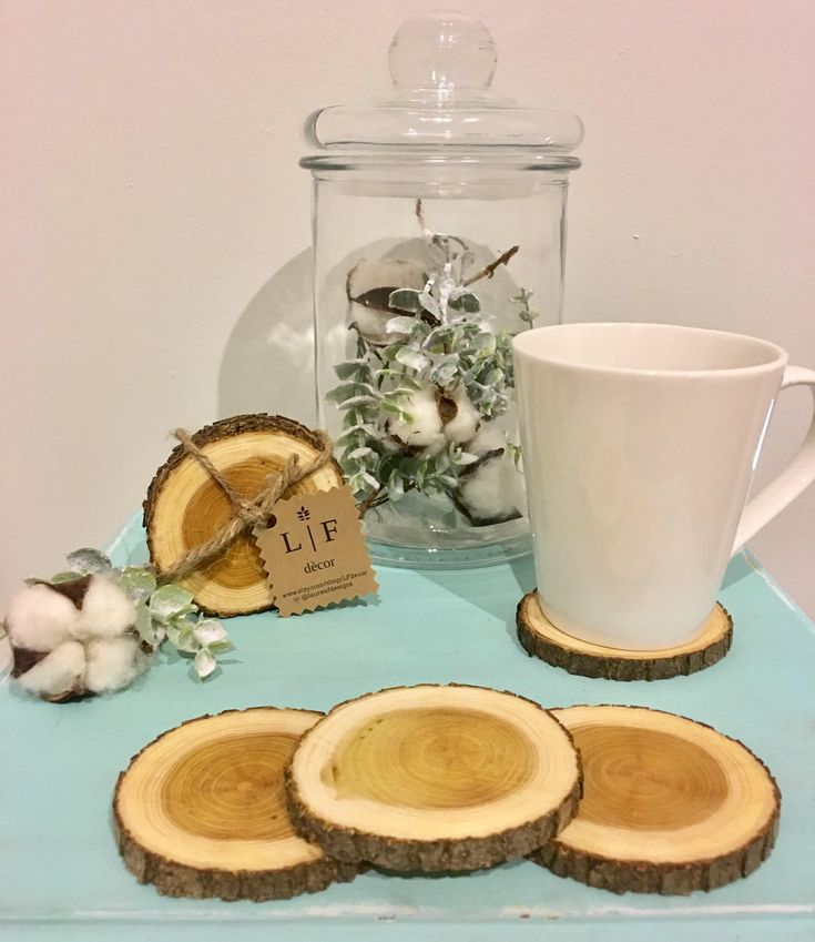 """Excited to share the latest addition to my #etsy shop: 3"""" Rustic Wood Coaster Set Wood Coasters Tree Coasters Drink Coasters Coaster Set Coaster for Drinks Rustic Wedding Favors Rustic Decor"""