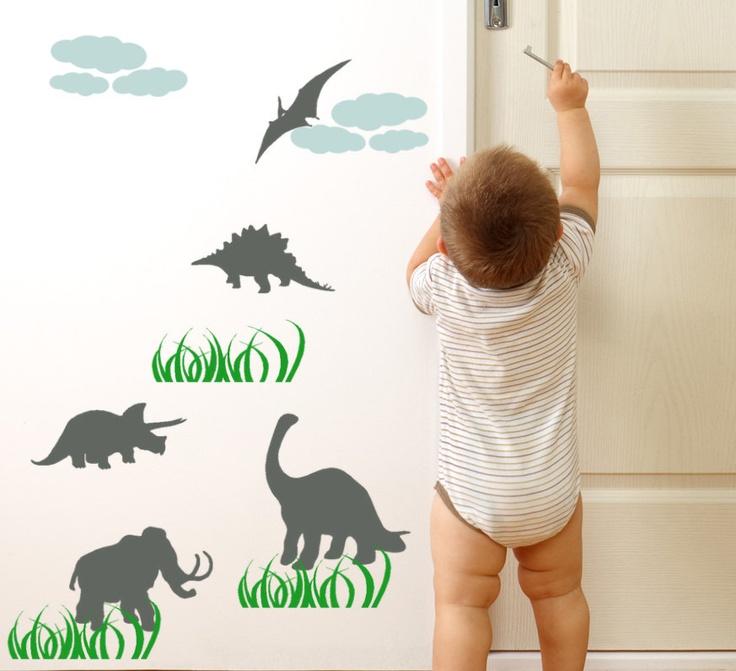 Dinosaur Wall decals and grass Childrens playroom and boys bedroom decor baby Nursery vinyl graphic art. $28.00, via Etsy.