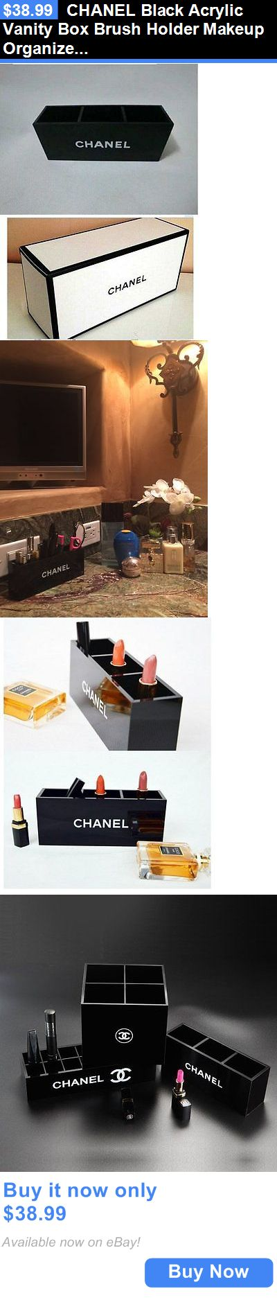 Other Makeup Tools and Accs: Chanel Black Acrylic Vanity Box Brush Holder Makeup Organizer With Box Vip Gift BUY IT NOW ONLY: $38.99
