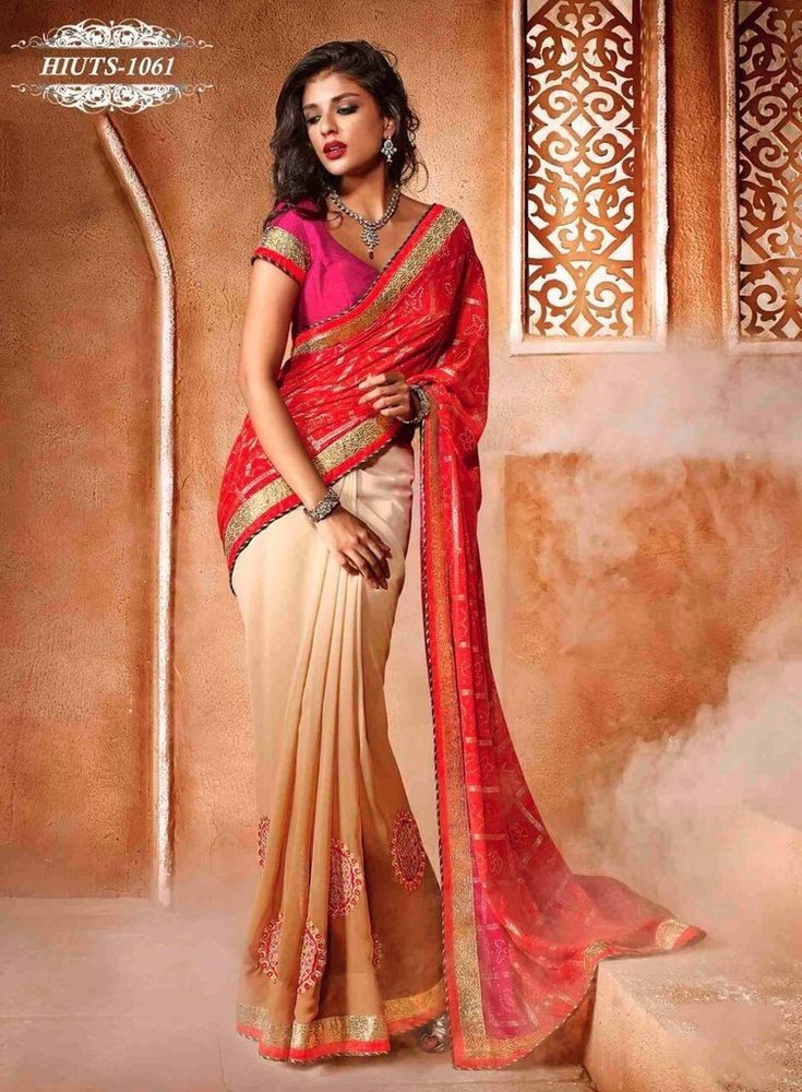 ETHNIC INDIAN DESIGNER EID SAREE GEORGETTE & CHIFFON WEDDING BRIDAL SARI US43 #Handmade #SareeWithUnstitchBlousePiece