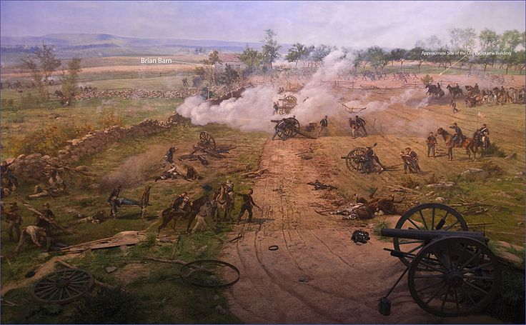 "'The Battle of Gettysburg',  is a cyclorama painting by the French artist Paul Philippoteaux depicting ""Pickett's Charge"", the climactic Confederate attack on the Union forces on Cemetery Ridge during the Battle of Gettysburg on Friday afternoon July 3, 1863. unit shown here is Battery A 1st Rhode Island artillery.  The 26th North Carolina made it to the wall in front of the Rhode Islanders.  The furthest of any Confederate unit.  Image by Ron Cogswell"