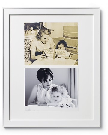 Pic of your mom and her mom, and you and your mom. Could add a third generation too if you have a daughter. Cute idea.