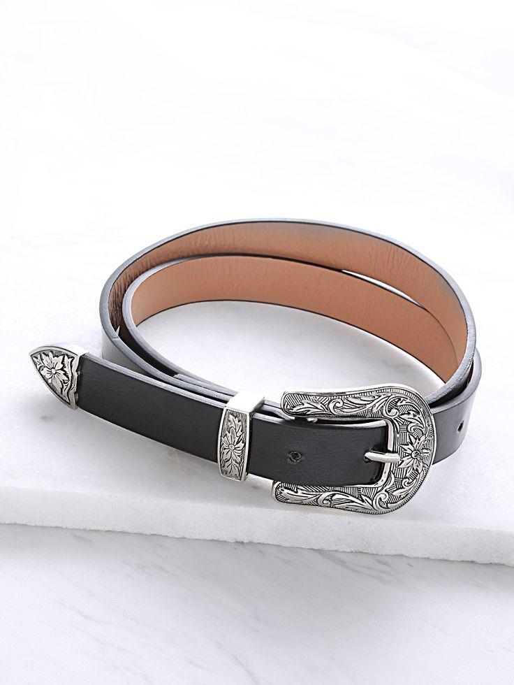 Black Single Carved Buckle Faux Leather Belt -SheIn(Sheinside)