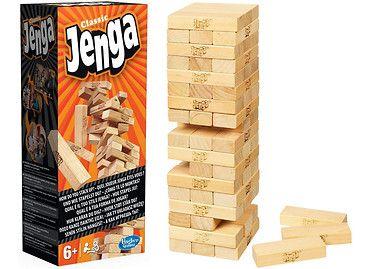 Gra #Jenga to wspaniała rozrywka dla całej rodziny. W pudełku na graczy czeka zestaw drewnianych klocków, które należy wyciągać ze środka wieży i układać na wierzchu tak, by jej nie zburzyć. #zabawki #dzieci #prezenty