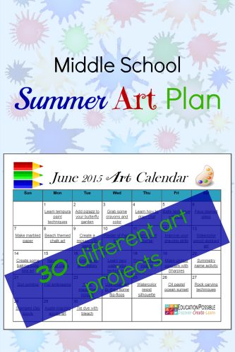 Download your FREE 30 Day Summer Art Plan @Education Possible  Have you been searching for hands-on activities to keep your teens engaged and learning this summer? A way to dig deeper into those subjects you don't always have time for during the school year? Consider focusing on art this summer, letting your child's creativity run wild. To make it easy for you, we've developed this convenient calendar with 30 different art projects .