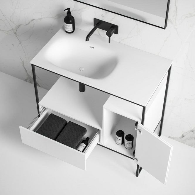 Luxe 900 Matte Black Framed Freestanding Bathroom Vanity Unit In 2020 Bathroom Vanity Units Bathroom Design Luxury Vanity Units