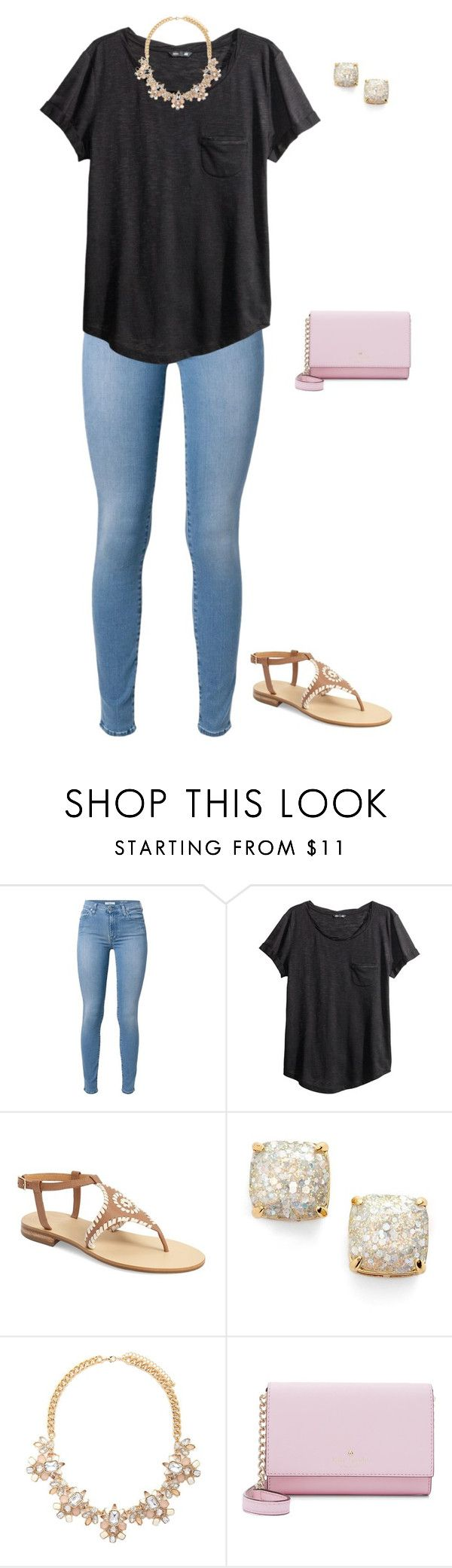 """Untitled #1117"" by jackelinhernandez ❤ liked on Polyvore featuring 7 For All Mankind, H&M, Jack Rogers, Kate Spade and Forever 21"