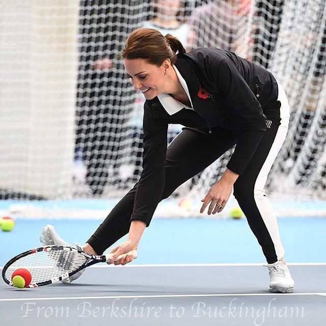 Kate visited the Lawn Tennis Association today, of which she is patron! In a surprise move, the Princess wore athletic wear, recycling her @monreallondon track pants and new #Nike trainers. Kate seems to be feeling much better as she participated in a number of training drills with the kids. Blog update later in the day! #KateMiddleton #DuchessKate #PrincessKate #LTA #Tennis #BritishTennis #BritishRoyals #DuchessofCambridge