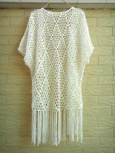 Crochet Kimono Cardigan Sweater Tunic Top with Fringes Women Boho Clothing