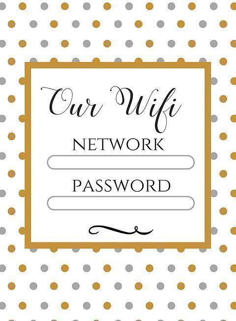 Free Wifi information printable for you and your guests