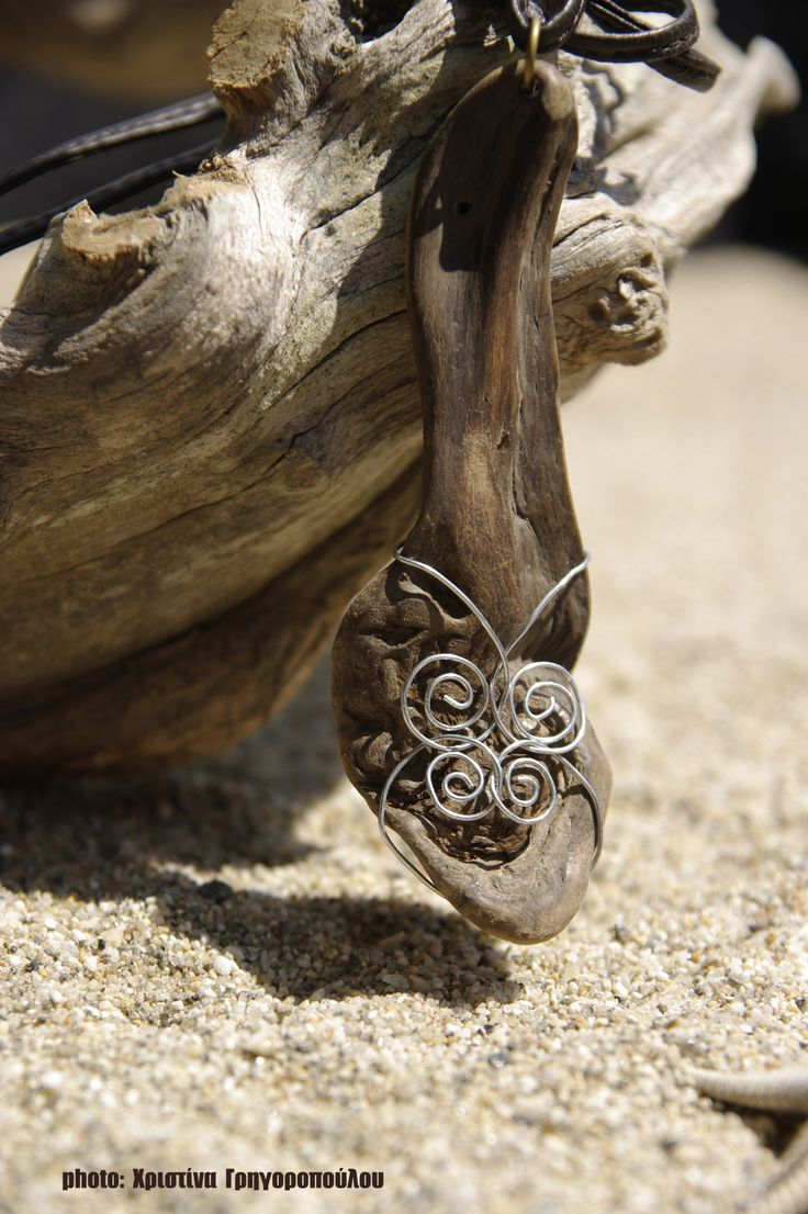handmade driftwood necklace (leather, metal, and driftwood from Aegean Sea, Chalkidiki, Greece) https://www.facebook.com/dreamwoodart