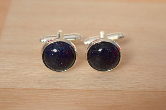 Blue Goldstone Cufflink  Gemstone Cuff Link  Best by SkadiJewelry