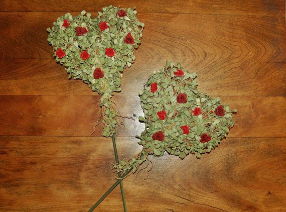 Faux Boxwood Hearts on Stick, Red Rose Accent, Wedding Decor, DIY Floral Crafts, Topiary Wreath Supply, Valentine's Day - SOLD! :)
